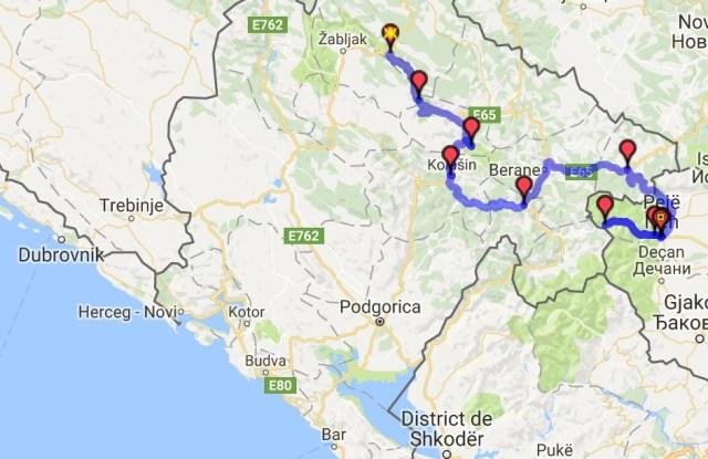 Itinéraire du jour 14 - Žabljak - Pejë