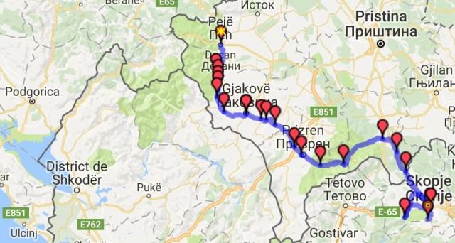 Itinéraire du jour 15 - Žabljak - Skopje