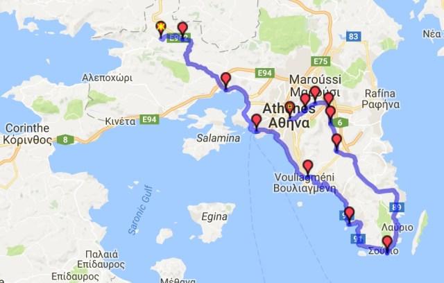 Itinéraire du jour 20 - Porto Germeno - Athènes