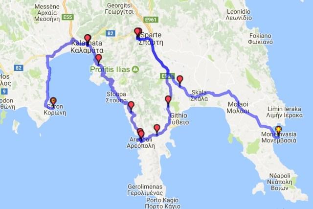Itinéraire du jour 25 - Monemvasia - Coron