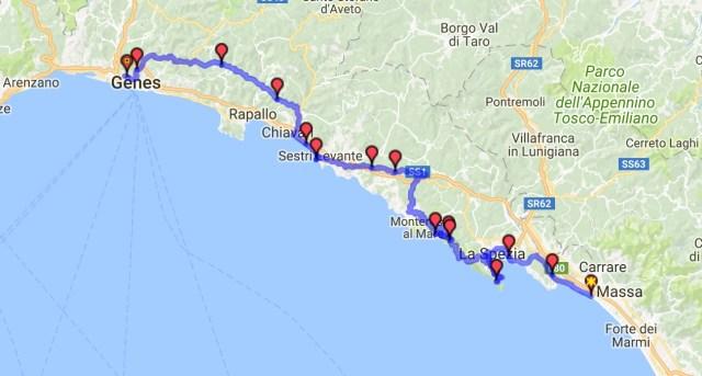 Itinéraire du jour 36 - Massa - Gênes