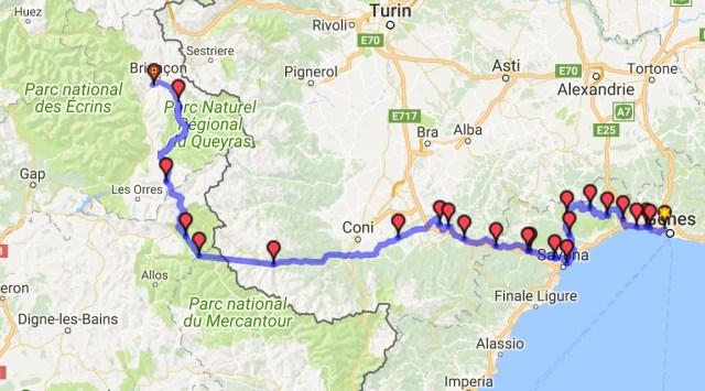 Itinéraire du jour 37 - Gênes - Briançon