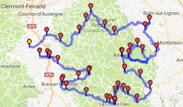 Carte du roadbook du deuxième jour de roulage en Auvergne