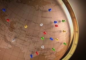 Globe with push pins
