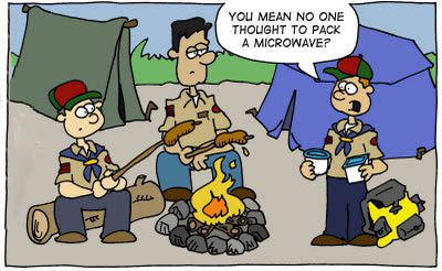 cartoon scout troop with no microwave