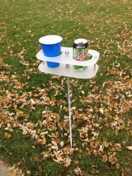 2-cup drink holder on a stick for camping