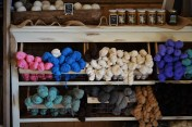 display of colored alpaca wool