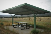 covered picnic table in high plains