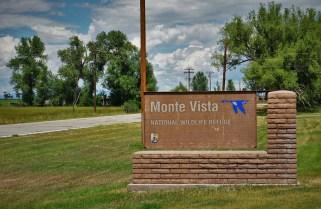 Welcome sign at Monte Vista Wildlife Refuge