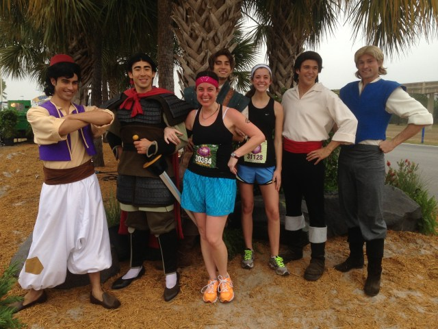 All the Princes at the Disney Princess Half Marathon Alladin, Shang, Flynn Rider, Eric and John Smith 2 Princess Half Marathon