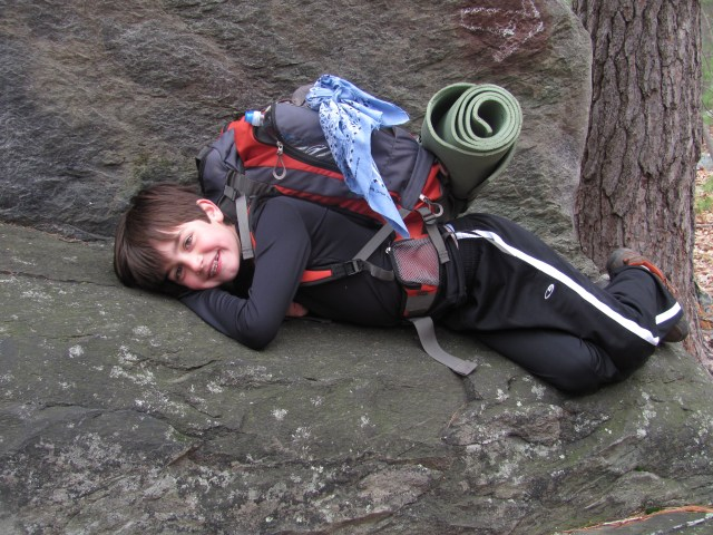Backpacking with kids: Garrett taking a rest on the Appalachian Trail at Harpers Ferry