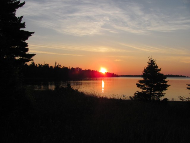 Sunrise from dock at Daisy Farm in Isle Royale National Park