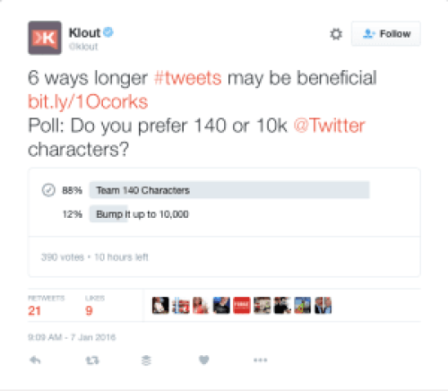 Klout poll results screen shot greatest community builder