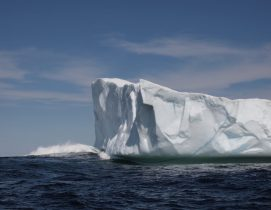 Once grounded, an iceberg will be beaten down by wind and waves. Photographed June 3, 2016, while on a boat tour operated by Prime Berth's Captain Dave. Credit: Therese Kehler