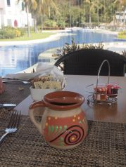 The lovely Bel-La Grill served breakfast daily. The staff was particularly proud of their Mexican coffee, an almost chai-like mixture of coffee, orange juice and spices, served hot in pottery mugs. Credit: Therese Kehler, December 2016