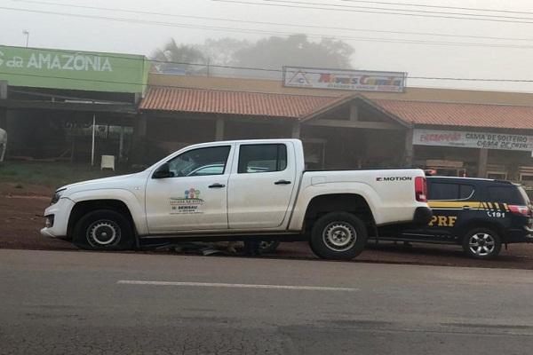 Espigão Doeste – Homens fortemente armados rendem motorista da Prefeitura, roubam Caminhonete e batem logo em seguida