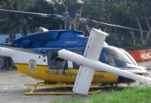 Helicóptero da PRF colide com placa ao tentar pousar no pátio