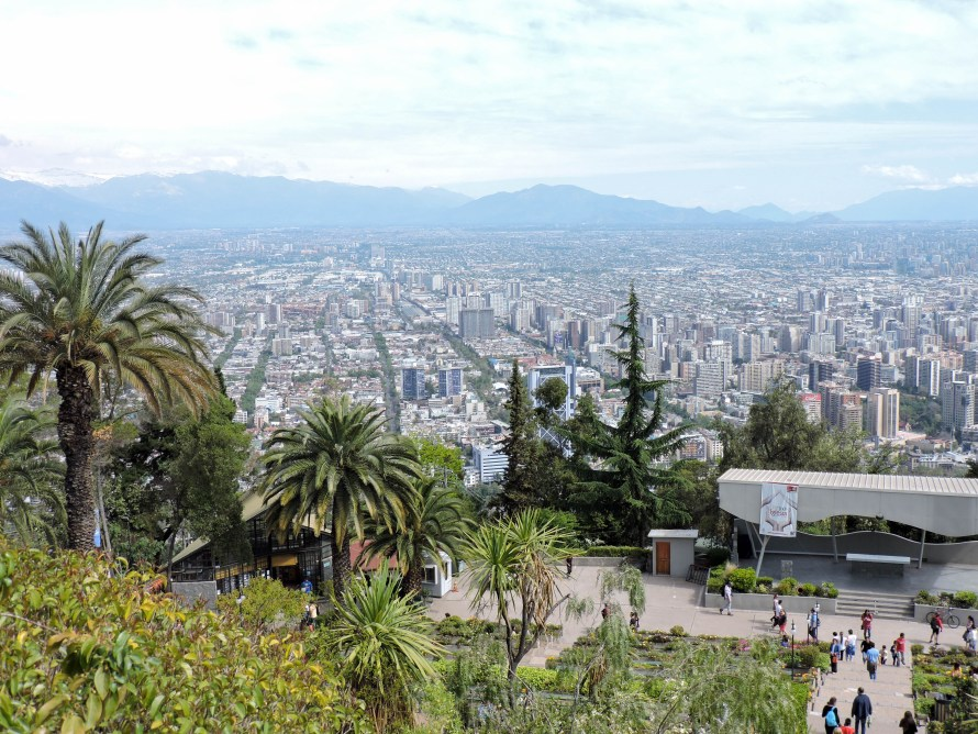 View from the top of San Cristobal Hill in Santiago Chile. City views.