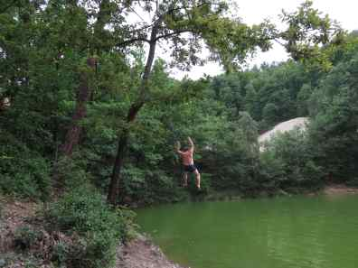 There is a rope hanging from a tree if you want to jump in Tarzan-style