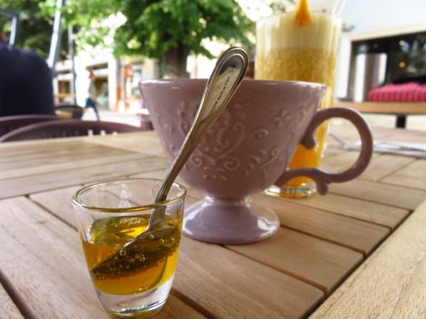 Mint tea, honey, orange/banana juice