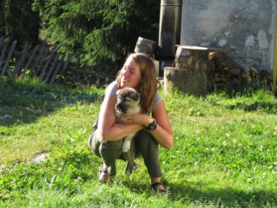 The sweetest little dog in the world at Cabana Varasoaia - soon to be a very big dog (because Caucasian).