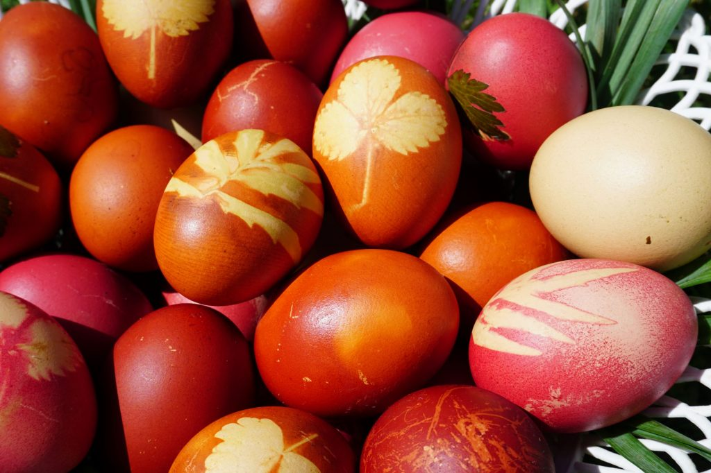 Romanian Easter eggs dyed red