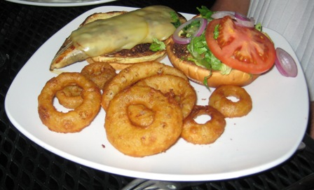 The Nook Chicken Sandwich and Onion Rings