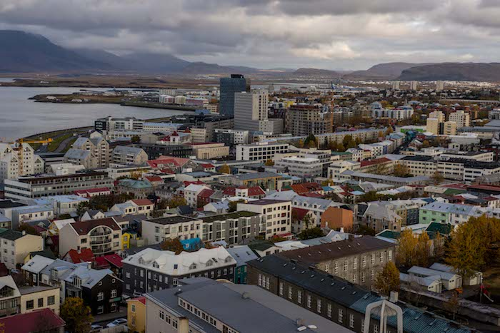 city of reykjvaik aerial view