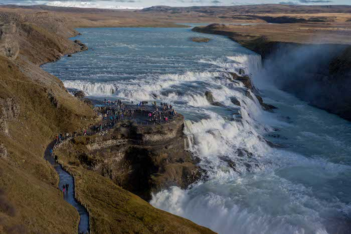 Tourists at the Gullfoss waterfall in Iceland