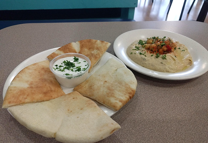 Pita with dippings at Mediterranean Bistro