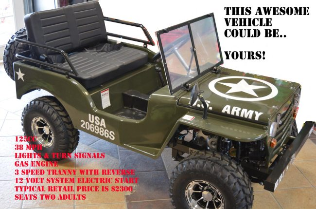 Win this 2-person Army Jeep
