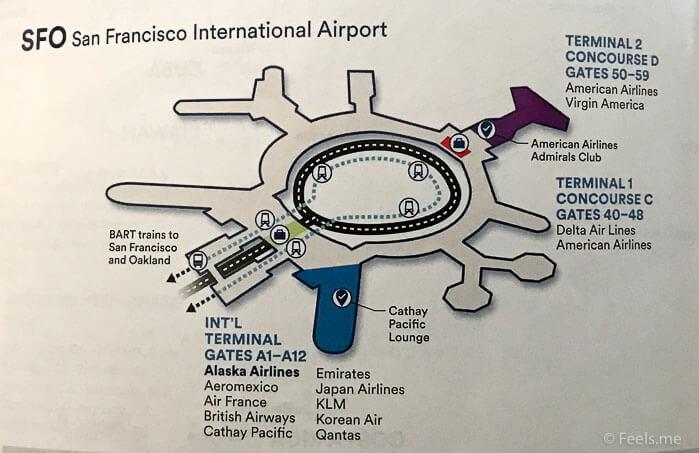 AS SEA SFO Economy Class SFO Terminal Map