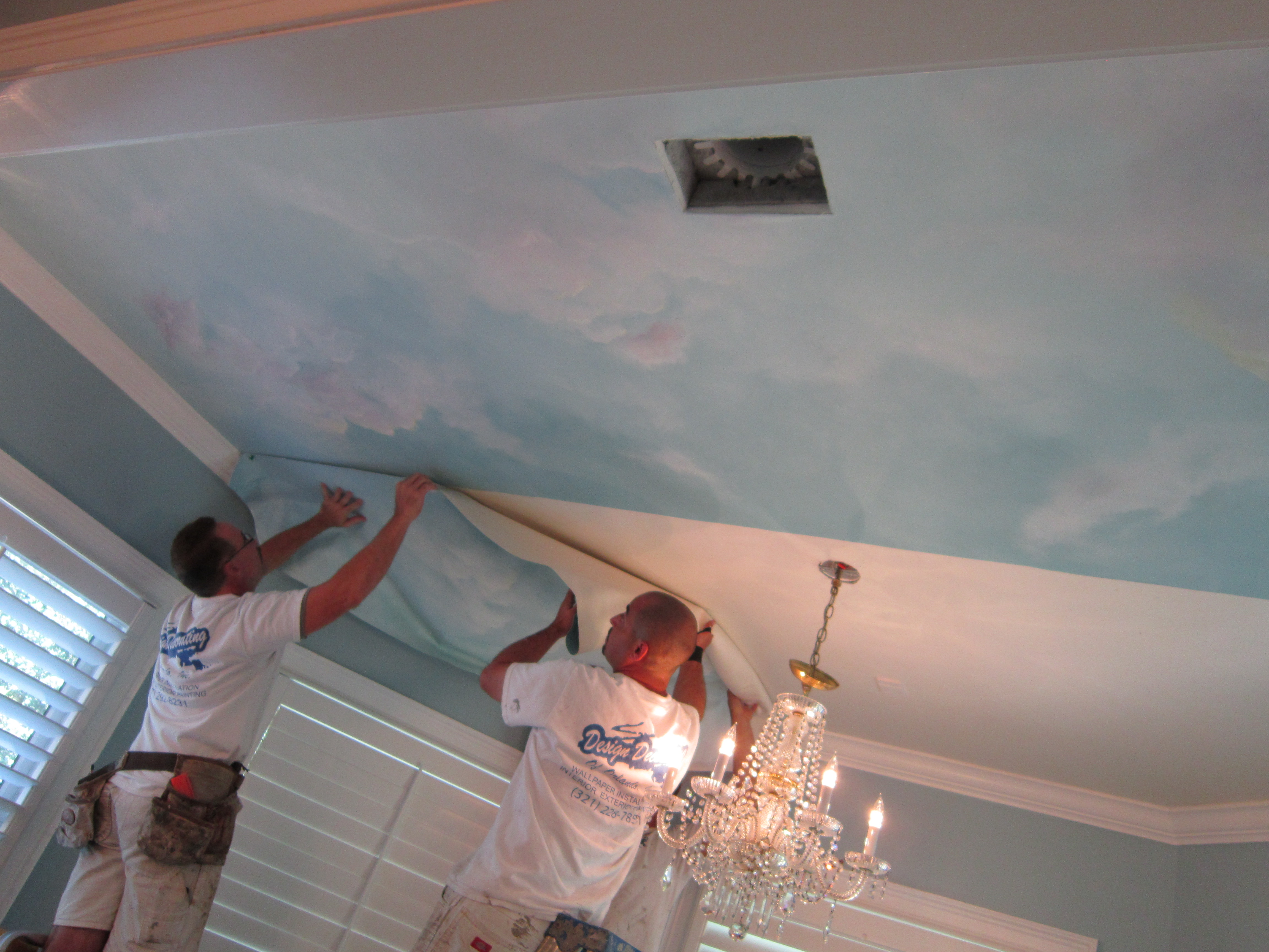Wallpaper Falling Off Ceiling How To Paint A Ceiling Mural Without Breaking Your Neck