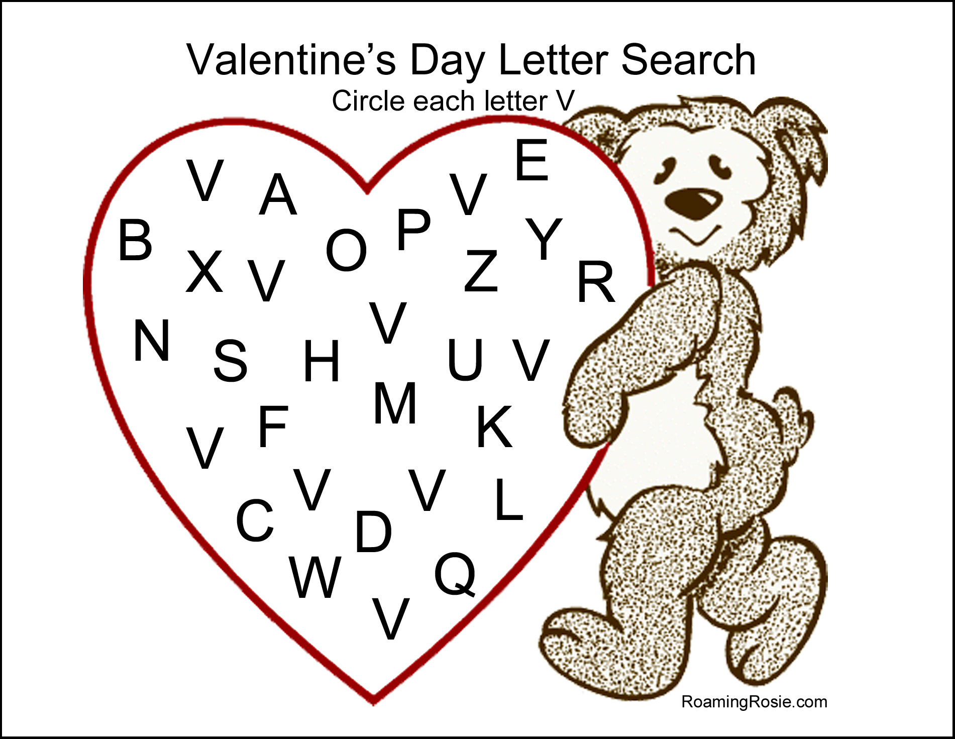 Valentine S Day Letter Search Free Printable Worksheet