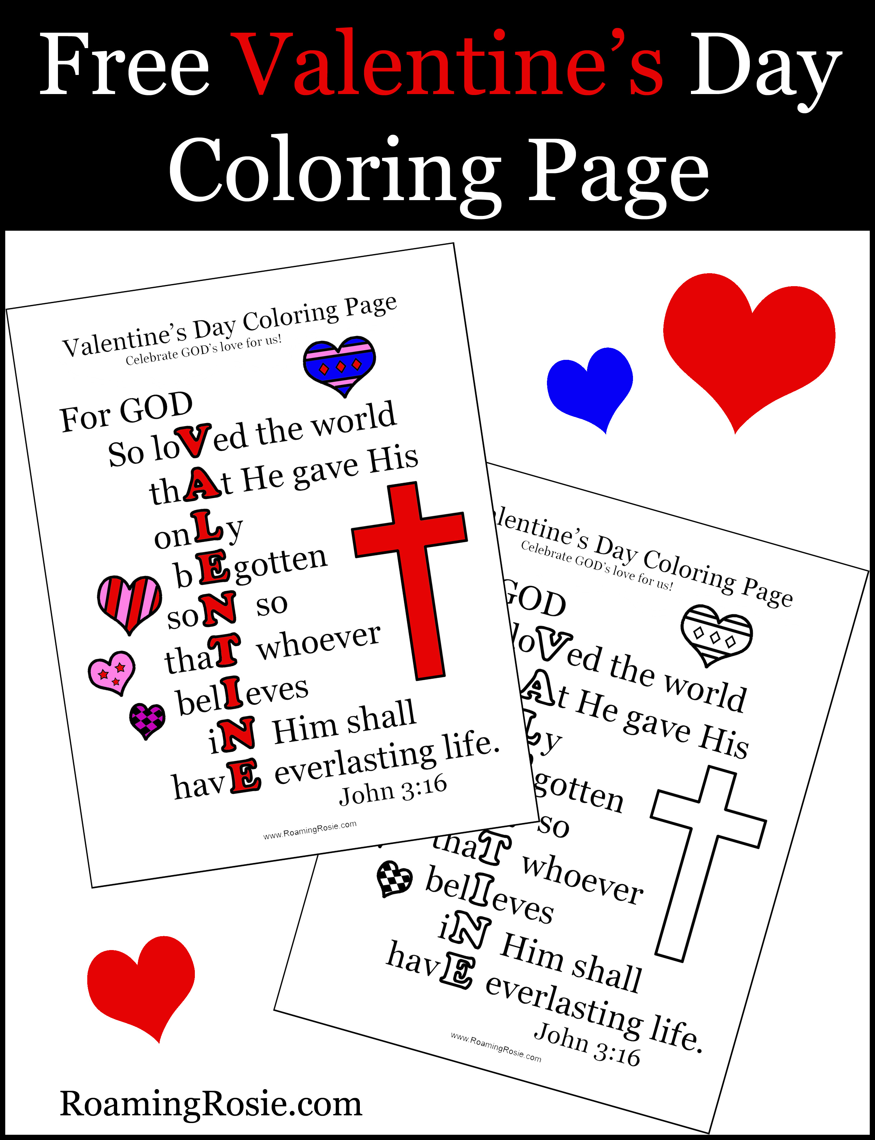 Valentine S Day Coloring Page With John 3 16 Quote