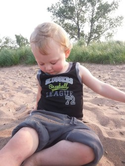 He loves playing on the beach