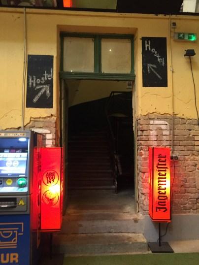 Hostel Entrance inside Bar - Budapest