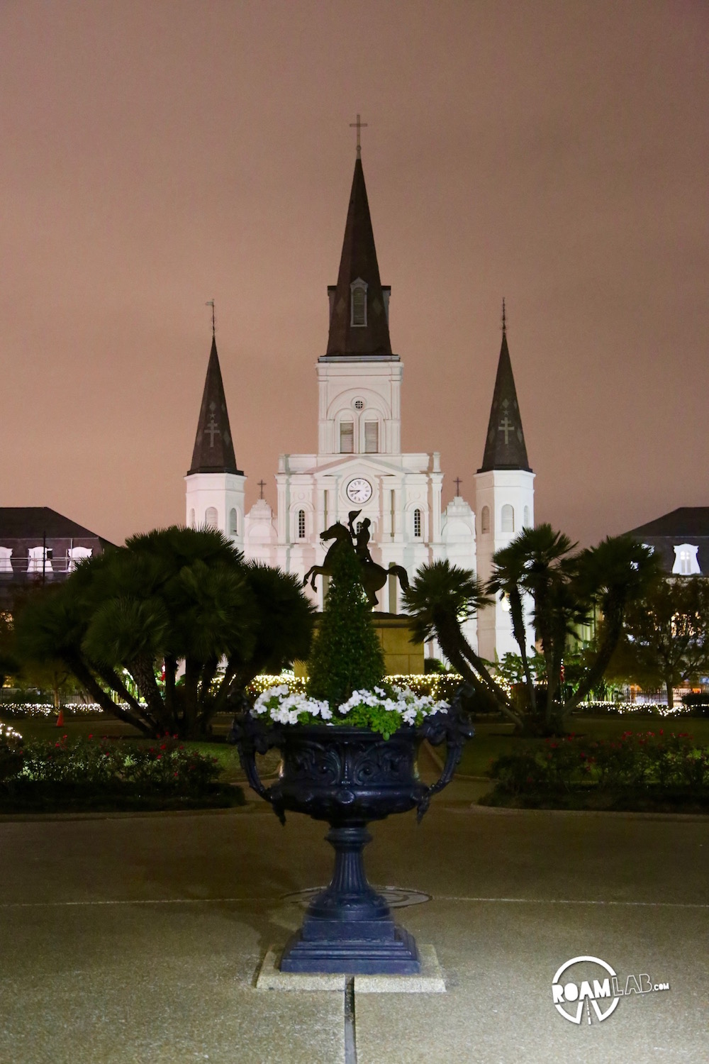 We paused to note the striking silhouette of the St. Louis Cathedral in New Orleans.