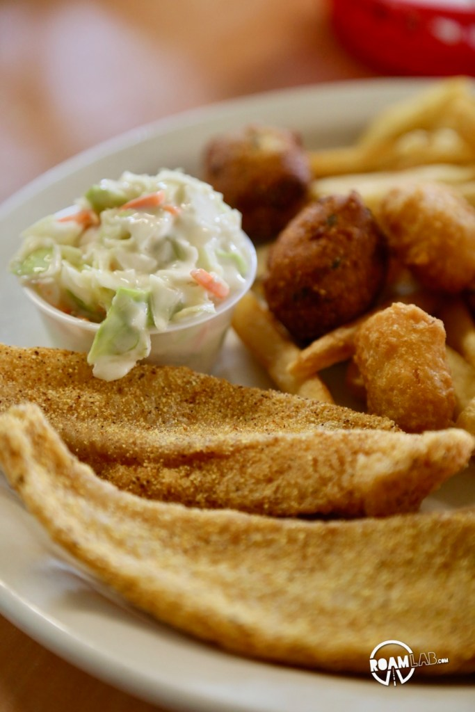 "Fried Catfish at the Cotham Mercantile, ""Where the elite meet to eat"""