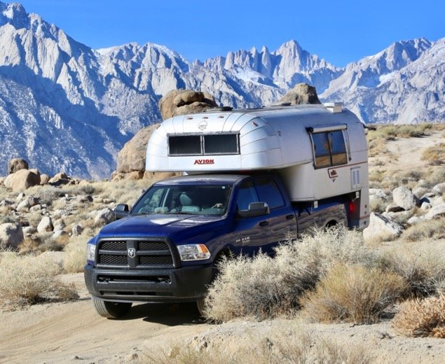 1970 Avion C11 truck camper roaming the Alabama Hills in California's Eastern Sierras