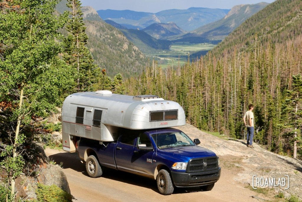 1970 Avion C11 Truck Camper on Old Fall River Road in Rocky Mountains National Park