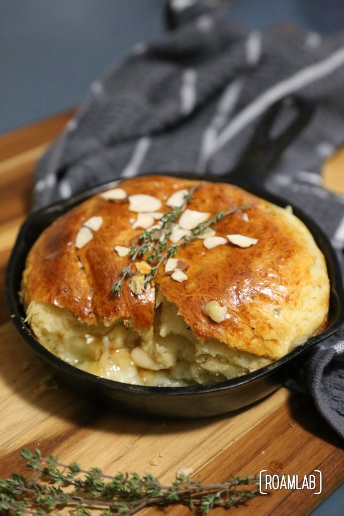 Campfire almond apricot baked brie