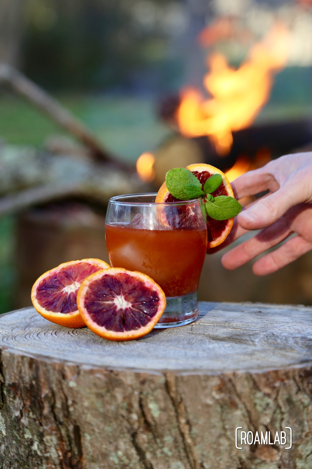 Blood Orange & Bourbon campfire cocktail