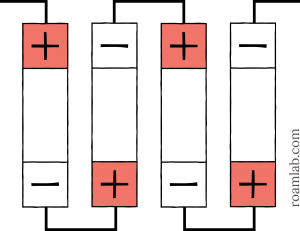 Diagram of battery cells arranged in serial.