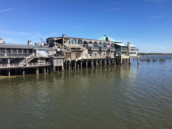 Old restaurant and pier on Cedar Key in Florida