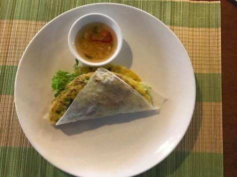 Our Vietnamese savory pancakes (banh xeo).