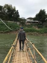 Matt walking the Bamboo Bridge.