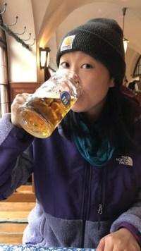 Phi sampling the beer.