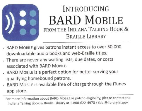 A scanned photo of Bard Mobile from the Indiana Talking Book & Braille Library flyer giving information on the service.