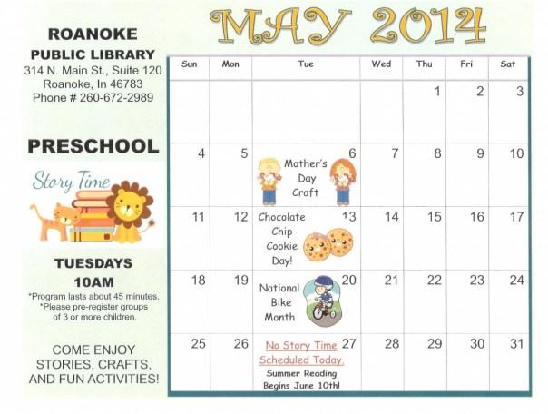 May Preschool Calendar